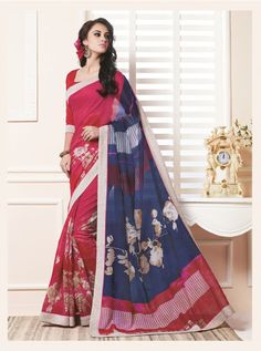 Red And Blue Bhagalpuri Khadi And Art Silk Printed sari #bhagalpurisilk #silk #printed #casual #sari #saree #WomenClothing #WomenWear #Designersari #stylishsari #nikvik #usa #designer #australia #canada #malaysia #UAE #freeshipping price-US$38.77.  Sign up and get USD100 worth vouchers.Offer is valid for limited period.