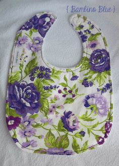 Baby Girl Bib  Violet Tea Rose by BambinoBlueBoutique on Etsy, $7.50