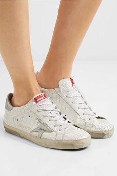 Golden Goose Deluxe Brand - Super Star Distressed Croc-effect Leather Sneakers - White - IT40