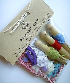 Craft kit  girls peg dolls traditional set to by PiccaBooDesigns,