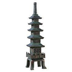 The Design TOSCANO The Nara Temple: Asian Garden Pagoda Sculpture features an intricate design that will enhance your garden decor. Made from resin, this pagoda features of Asian design that's finished in a verdigris bronze.
