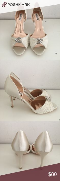 """Badgley Mischka Jennifer D'Orsay Pump NEW Badgley Mischka Jennifer D'Orsay Pump, ivory color, peep toe strap with crystal embellished ornament at center, lightly padded leather insole, approx. 3.5"""" heel Badgley Mischka Shoes Heels"""