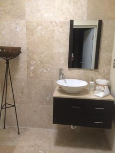 Picture Collection Website Vanity Combo in Ebony with Natural Stone Vanity Top in Travertine and Mirror