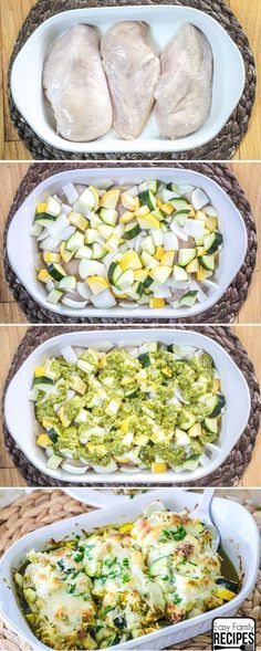 Chicken Zucchini Casserole · Easy Family Recipes - Baked Chicken and Zucchini – Easy Dinner Recipe La mejor imagen sobre healthy meal prep para tu g - Chicken Zucchini Casserole, Chicken Zuchini Recipes, Pesto Chicken Bake, Baked Zuchinni Recipes, Recipe Chicken, Easy Baked Chicken, Shrimp Recipes, Chicken With Pesto, Healthy Recipes