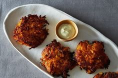 Maple Sweet Potato Cakes with Curried Greek Yogurt, a recipe on Food52