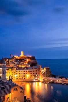 Italy - Cinque Terra: Vernazza Twilight by John & Tina Reid, via Flickr