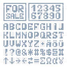 Blue alphabet letters and numbers on white. Some special characters signs and borders. Alphabet Design, Alphabet Images, Alphabet Letters, Hama Beads Patterns, Beading Patterns, Crochet Alphabet, Font Digital, Graph Paper Art, Perler Bead Templates