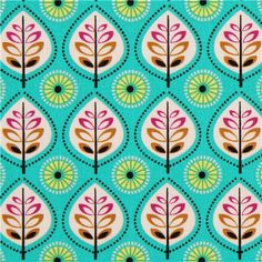 turquoise leaf fabric by Michael Miller from the USA