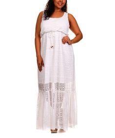 White Geometric Maxi Dress - Plus #zulily #zulilyfinds