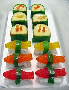 Dessert sushi...cute idea for kid's party.
