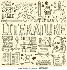 Big vector set of hand drawn doodle Literature icons, isolated on background. Bullet Journal Titles, Bujo Doodles, Drawing School, Science Notes, School Notebooks, Diy Notebook, Sketch Notes, School Subjects, Binder Covers