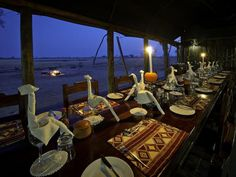 Davison's Camp #Zimbabwe. End your day with a delicious meal in the elegant dining room.