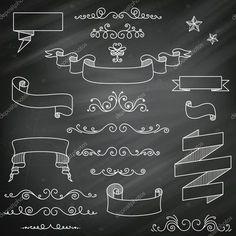 Illustration about Illustration of Decorative Vintage Chalkboard Elements. Illustration of divider, blackboard, chalk - 31629750 Chalkboard Clipart, Chalkboard Doodles, Vintage Chalkboard, Chalkboard Decor, Chalkboard Drawings, Chalkboard Lettering, Hand Lettering Fonts, Chalk Drawings, Vintage Fonts