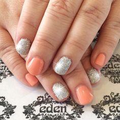 Pastel Peach Shellac with Glitter #edensouthport #shellac #glitter #nails #notd #pastelnails