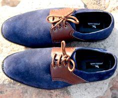 Buy Suede Blue Derby@2149 - Pride's Walk #FormalShoes #MensShoes #BlueShoes #MenFormalShoes