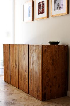 Love these stained pine Ikea Ivar cabinets. Very classy and easy ikea hack