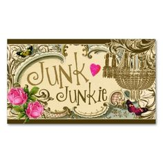 GC Customizable Junk Junkie Business Card, junkers, trashers, vintage, upcyclers, upcycle, furniture