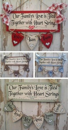 Large range of handmade Personalised Wooden Signs Plaques & Gifts: wood plaques & wooden gifts, indoor & outdoor wooden signs. Valentine Decorations, Valentine Crafts, Christmas Crafts, Wooden Projects, Wood Crafts, Craft Gifts, Diy Gifts, Crafts To Make, Arts And Crafts