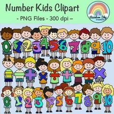 Maths Number Kids Clipart - Set for Teachers School Resources, Teaching Resources, Equals Sign, Number 0, Rainbow Sky, Math Numbers, More Fun, Back To School, Art Projects