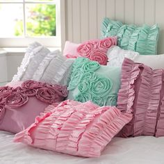 PB Teen Ruffle and Rose Pillow Covers