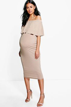 Maternity April Off The Shoulder Midi Dress, perfect for a wedding or formal party