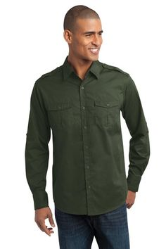 Port Authority® Stain-Resistant Roll Sleeve Twill Shirt. S649 * $29.98