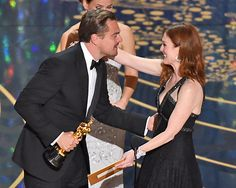 """[ew_brightcove videoid=""""4778915201001"""" pushTop autoPlay]  Five nominations later, Leonardo DiCaprio has finally won an Oscar. Taking home best actor for his work in The Revenant on Sunday night, DiCaprio took the stage to give a moving speech about climate change."""