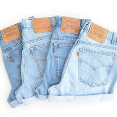 Vintage Levis High Waisted Cuffed Denim Shorts Light Stone Wash Jeans / xs s m l xl xxl
