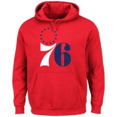 Men s Philadelphia 76ers Majestic Red Hardwood Classics Tech Patch Pullover  Hoodie 2670f1018