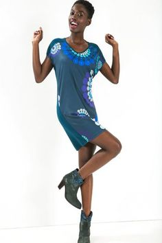 Desigual Straight cut blue dress. Discover the fall-winter 2015 collection!
