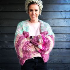 HANDMADE WITH LOVE BY MYPZ, Bernadette vest, This is a unique handmade luxury cardigan. This beautiful cardigan is made of a high quality hand-dyed Baby Alpaca and Mohair. Mohair Yarn, Mohair Sweater, Crochet Yarn, Crochet Top, Chunky Babies, Chunky Cardigan, Hand Knitted Sweaters, Baby Alpaca, Knit Patterns