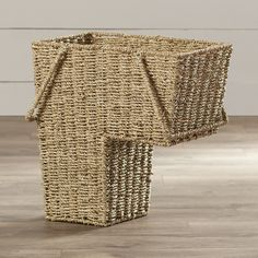 "Found it at Wayfair - Bertram Wicker Sea Grass Stair Basket - a non-furniture storage ""unit"" for the stairs. I have also seen these at Lowes, Target, Bed bath and beyond..."