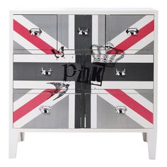 Wooden flag drawer chest cabinet in white W 80cm