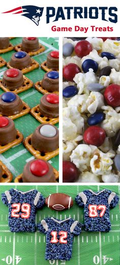 If you are a New England Patriots fan, you'll want to make one (or all) of these New England Patriots Game Day Treats for your football watching family members. These are fun Blue, Red and Grey football desserts that are perfect for the Super Bowl! Football Treats, Football Food, Football Banquet, New England Patriots Game, Superbowl Desserts, Easy Desserts, Super Bowl Sunday, Food Ideas, Party