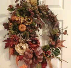 Fall Wreath, Tuscan Autumn, Thanksgiving Wreath Elegant Oval Grapevine Wreath, Door, Wall, Mantel, Living Room Wreath, SHIPPING INCLUDED by GiftsByWhatABeautifu on Etsy