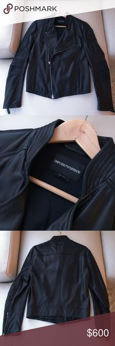 Emporio Armani Men's Leather Jacket, M 100% Lamb Leather  Size US40, EU50, M  The jacket has only been worn once. There is no scratch or any visible sign of wear.   The only flaw is that the leather piece of the pull tab on the bottom tab of the of the double-tab zipper in the front of the jacket is missing. You can see this in the first picture. Emporio Armani Jackets & Coats