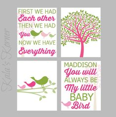 BIRD NURSERY ART  Pink Green Nursery Playroom Art by KalasKorner