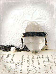 Quartz Crystal Necklace Soldered Quartz Crystal by Mystarrrs