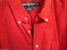 RALPH LAUREN POLO Shirt BLAKE Mens MEDIUM M Red Long Sleeve Button Front L/S #ralphlauren #polo #blake