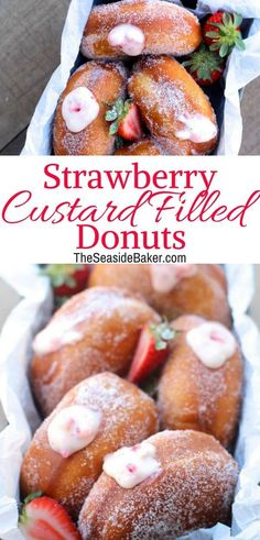 Strawberry Custard Filled Donuts Strawberry Custard Filled Donuts Kate kathiehelsel RECIPES Strawberry Custard-Filled Donuts The perfect combination of sweet and fruity custardiness not nbsp hellip filled Cupcake Baker Recipes, Pastry Recipes, Delicious Donuts, Yummy Food, Brunch Recipes, Dessert Recipes, Cream Filled Donuts, Homemade Donuts, Homemade Breads