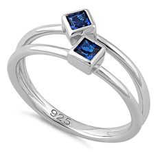 Sterling Silver Double Princess Cut Blue Spinel CZ Ring