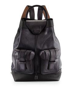 Berluti Leather Drawstring Backpack, Black