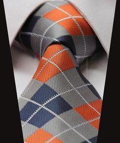 """Orange Gray Blue Check 3.4"""" Silk Classic Jacquard Men's Tie"""