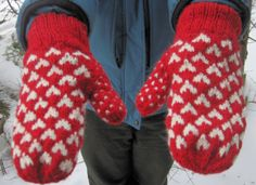 Wool Heart Mittens, Double Knit Red and White Heart Pattern for Women's Valentine's Day Sweetheart Gift on Etsy, $34.95