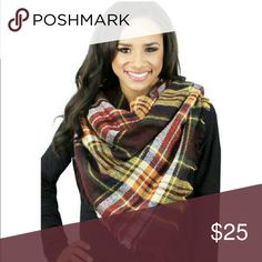 """💕1 Day Sale💕Coffee Blanket Scarf 💕 Plaid Blanket Scarf. 70% Acrylic 39% Wool. 55"""" X 55"""" Length. Accessories Scarves & Wraps"""