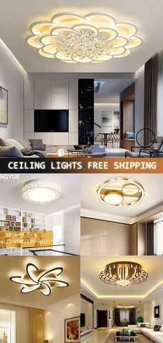 FREE SHIPPING ON ORDERS US$89/  SUPERIOR QUALITY GUARANTEE/  PROMPT CUSTOMER SERVICE Living Room Lighting, Home Lighting, Living Room Bedroom, Living Room Decor, Dining Room, Sala Grande, Led Ceiling Lights, Ceiling Lamp, Bedroom Ceiling