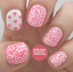 Bright studs with nail art pen free-hand squiggles