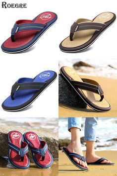 0d2495074de ROEGRE Summer Soft Flip Flops for Men Comfortable Outdoor Casual Slipper  Beach Sandals 3 Colors Black Blue Brown Plus Size 45-in Slippers from Shoes  on ...