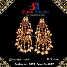 This pair of earrings in 92.5 silver and precious stones truly embody loveliness and class... check them out here from Shree Ambica - Your Trusted Silver Jewellers. Pick this for the upcoming festive/wedding season. Readily available in stock For Price and Details Message on - +919866110500 #ShreeAmbica #tustedJewellers #SilverJewellery #indianbride #indianwedding
