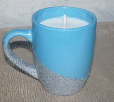 Aqua Glitter Mug with Soy Candle Soy Candle by DancingWindDesigns